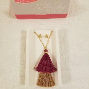 Lily Sky Designs - Long Tassel and Earring Set